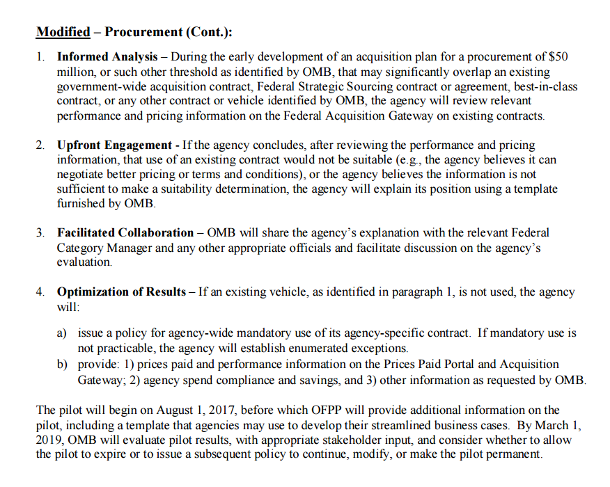 The steps being piloted by OMB for a streamlined review of inter-agency and other agency-specific contracts.