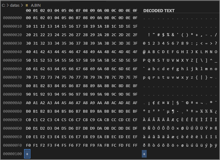 hex dump of a.bin file