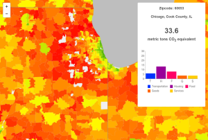The CoolClimate Network, a multi-party partnership based at the University of California, Berkeley, uses big data to estimate greenhouse gas emissions in zip codes across the United States. | Source: UC Berkeley CoolClimate Network, Average Annual Household Carbon Footprint – Chicago, IL (2013).