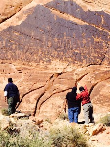 Tribal members visit a petroglyph site on BLM land in Southeast Utah. | Credit: Amy Cole, National Trust for Historic Preservation