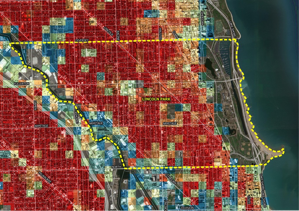 Like Logan Square, Lincoln Park also has a very high Character Score, as denoted by the red and orange squares in this zoomed-in map. Here again, a high Character Score statistic also indicated many opportunities for outdoor and nightlife fun. | Credit: Preservation Green Lab