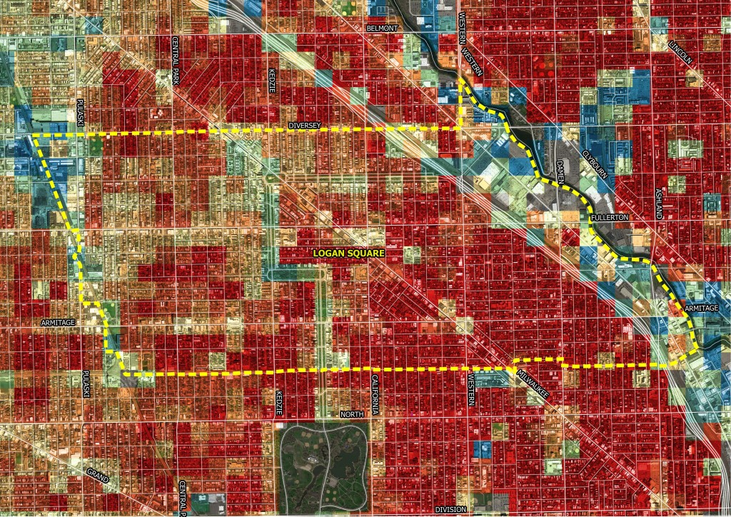 Logan Square's building fabric, as seen in this zoomed-in map of the neighborhood has an extremely high Character Score--both in absolute terms and compared to the city of Chicago (as indicated by the number of red squares). | Credit: Preservation Green Lab