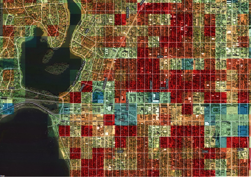 Abundant warm-colored squares signal that much of Minneapolis's Uptown neighborhood has a high Character Score , and along with it, an active social scene. | Credit: Preservation Green Lab