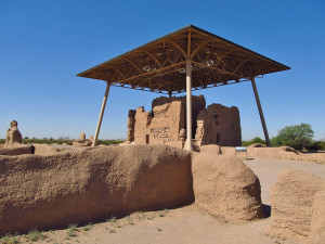 Casa Grande Ruins National Monument, home of the Hohokam Peoples in the Salt and Gila Valley in Arizona. Established as a National Monument in 1918. | Credit: Jasperdo on Flickr via Creative Commons.