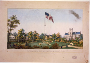 "Print shows Dr. King's residence, the President's villa, the military governor's house, and the soldier's home, established in 1851 and later known as the Armed Forces Retirement Home. ""During the Civil War, President Lincoln and his family resided here from June to November of 1862, 1863, and 1864."" 