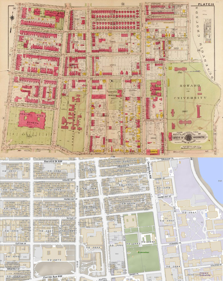 Baist real estate atlas, 1919, Vol. 3 (Library of Congress), top District of Columbia Zoning Map, bottom