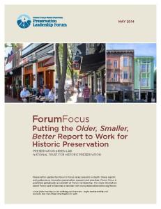Older, Smaller, Better Forum Focus Cover