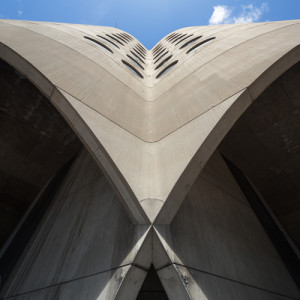 While this more artistic shot of the concrete tower from below is quite dramatic, it also highlights the intersecting concrete arches that are the key to Prentice's groundbreaking structural system.| Credit: National Trust