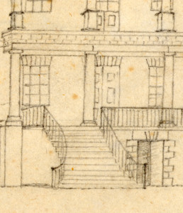 Figure 2: Detail of Gibbes Sketch Book, c. 1845 showing exposed brick above lintels; Gift of the Drayton family; Drayton Papers Collection. | Credit: Drayton Hall