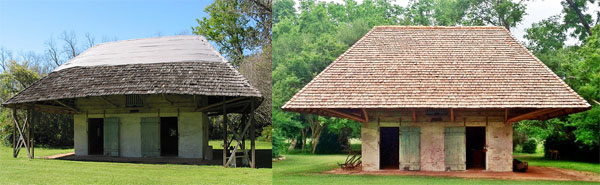 Before (Left, 2014) and After (Right, 2015) view of the exterior of African House. |  Credit: Molly Dickerson Melrose Plantation Facility Manager