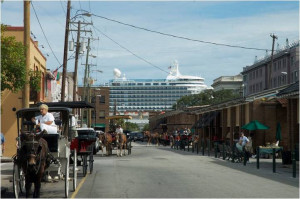 View of cruise ship from Market Street. | Credit: Don't Leave Charleston in Your Wake Facebook page
