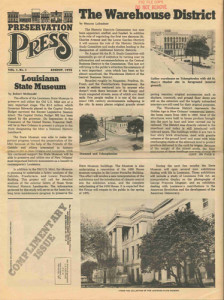 1975 – In a funny twist of fate, the very first issue of Preservation Press, later Preservation in Print, featured the Leeds-Davis building on its cover, labeled the Gallier Warehouse (top right). PRC bought that structure 25 years later and rehabbed the building for use as its headquarters. PRC is still located there today.