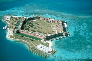 An aerial view of Fort Jefferson at Dry Turtogas National Park, which  is highly vulnerable to sea level rise. | Credit: National Park Service (via Wikipedia)