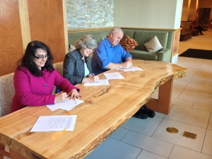 Signing Ceremony for a Department of Transportation programmatic agreement. Pictured: Sandra Garcia-Aline, FHWA Alaska Division Administrator Judith Bittner, Alaska State Historic Preservation Officer Pat Kemp, Alaska Department of Transportation and Public Facilities Commissioner | Credit: ACHP