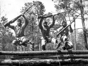 The Section 106 process led to the protection of historic World War II structures at Montford Point Camp. This historic photo shows African American Marines during a training exercise.| Courtesy Montford Point Marine Museum