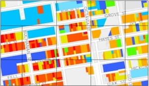 In the Older, Smaller, Better report, the Preservation Green Lab analyzed assessor data and established key measures of the age, age diversity, and granularity of built fabric at the 200-meter-by-200-meter level. Here, warmer-colored shapes show older buildings in San Francisco's Hayes Valley, constructed before 1945. Buildings shaded blue and green were constructed between 1945 and today.| Credit: Preservation Green Lab mapping of data from the City and County of San Francisco.