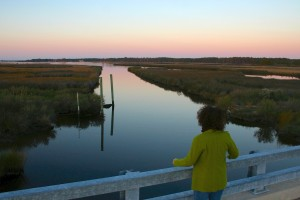 A visitor looks out over Stewart's Canal at the Harriet Tubman Underground Railroad National Monument at dusk.   Credit: National Park Service