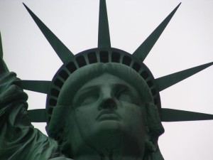 View of the Statue of Liberty's face and diadem (crown) which symbolizes the seven seas and continents of the world. | Credit: National Park Service