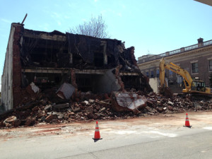 Morrissey Parking Garage and Falls City Theatre Equipment Co. being demolished. | Credit: Preservation Louisville
