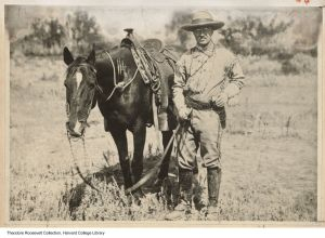 Teddy Roosevelt on a Horse near Medora in 1885. | Credit: Harvard Collection