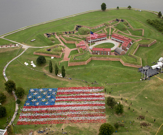 Nearly 7,000 children from schools across Maryland formed the Star-Spangled Banner Bicentennial Living American Flag at Fort McHenry National Monument and Historic Shrine. | Credit: Friends of Fort McHenry