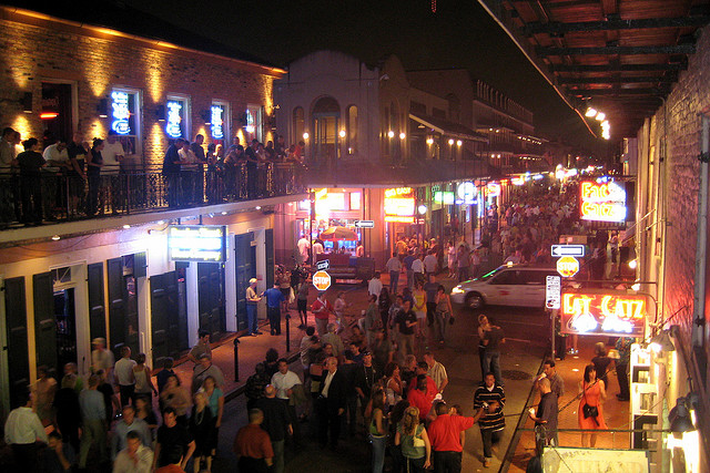 New Orleans - French Quarter - Bourbon Street at Night. | Credit: Wally Gobetz via flickr on Creative Commons.