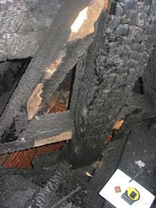 Timbers in the College Street Congregational Church follwing the fire.| Credit: Preservation Trust of Vermont