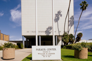Front sign at the Parker Center.| Credit: Hunter Kerhart/L.A. Conservancy