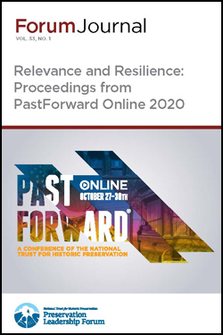 Cover of a journal with the logo for PastForward Online 2020 on it