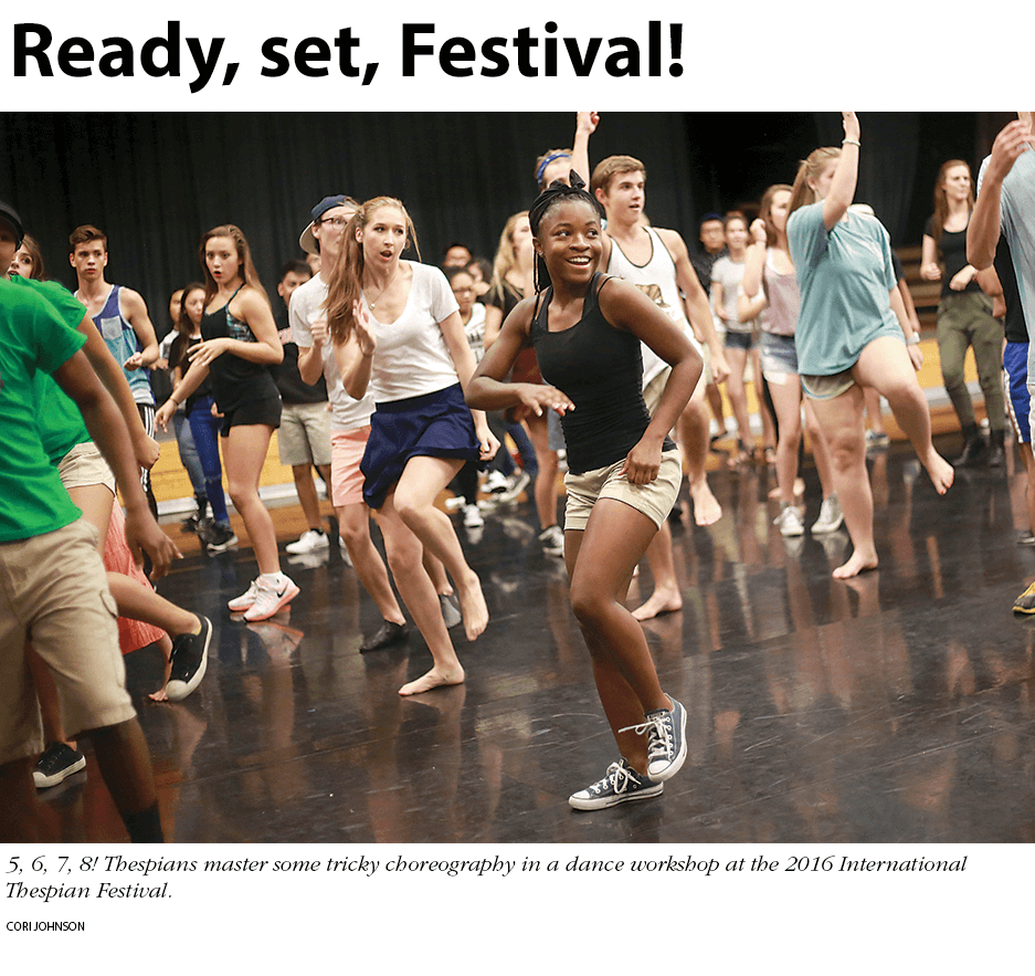 Ready, set, Festival! Photo: dance workshop at the 2016 International Thespian Festival. Photo by Cori Johnson.
