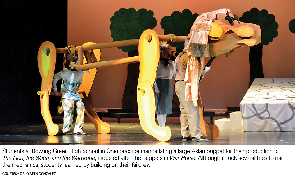 Students at Bowling Green High School in Ohio practice manipulating a large Aslan puppet for their production of The Lion, the Witch, and the Wardrobe, modeled after the puppets in War Horse. Although it took several tries to nail the mechanices, students learn by building on their failures. Photo courtesy of Jo Beth Gonzalez.