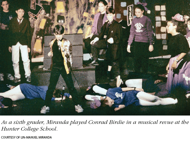 Photo: Miranda playing Conrad Birdie as a sixth grader in a musical revue at the Hunter College School. Photo courtesy of Lin-Manuel Miranda.