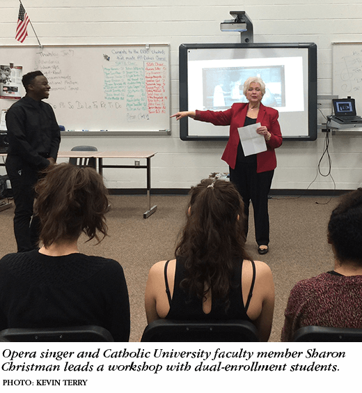 Opera singer and Catholic University faculty member Sharon Christman leads a workshop with dual-enrollment students. Photo: Kevin Terry.