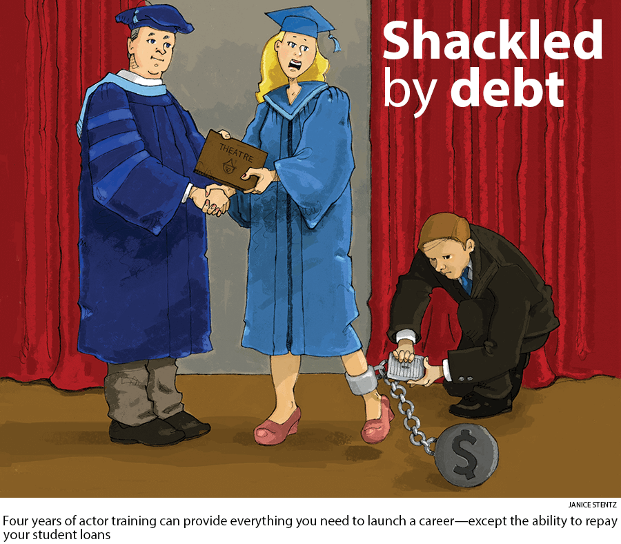 Shackled by debt: Four years of actor training can provide everything you need to launch a career—except the ability to repay your student loans. Art by Janice Stentz.