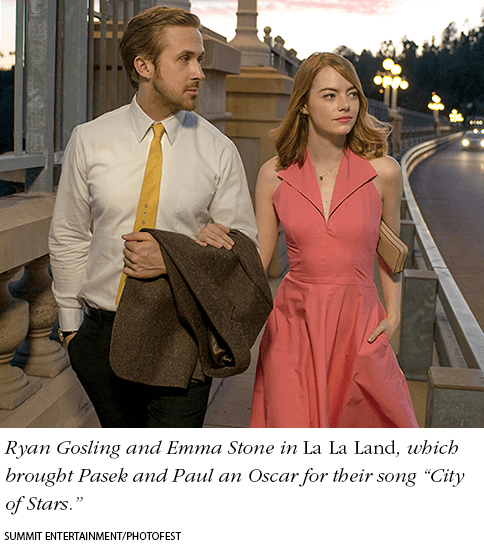 "Ryan Gosling and Emma Stone in La La Land, which brought Pasek and Paul an Oscar for their song ""City of Stars."" Photo: Summit Entertainment/Photofest"