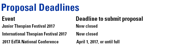 Proposal Deadlines. Junior Thespian Festival 2017: Now closed. International Thespian Festival 2017: Now closed. 2017 EdTA National Conference: April 1, 2017, or until full.