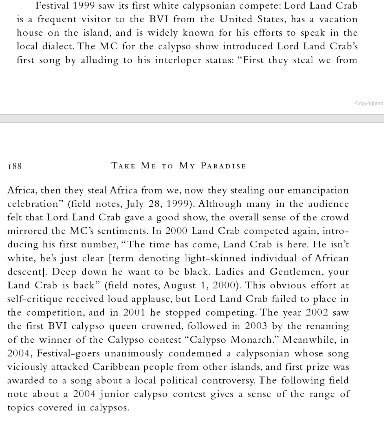 Description of first white Calypso performer at Festival
