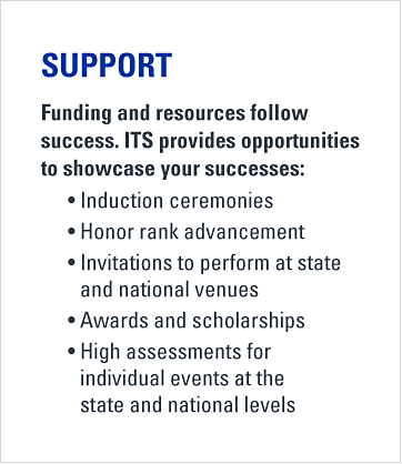 Support. Funding and resources follow success. ITS provides opportunities to showcase your successes. Induction ceremonies. Honor rank advancement. Invitations to perform at state and national venues. Awards and scholarships. High assessments for individual events at the state and national levels.