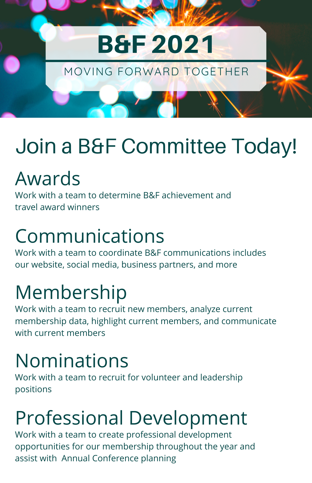 List of Committees: Awards, Communications, Membership, Nominations, Professional Development