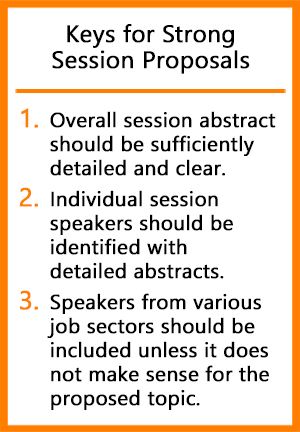 Summary of the keys for a strong session proposal as outlined in the article