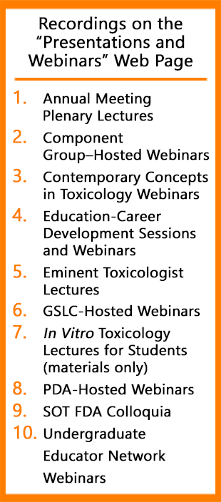 List of Recordings and Webinars available on the SOT website