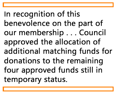 A quote from the article discussing matching funds for donations to the SOT Endowment Fund.