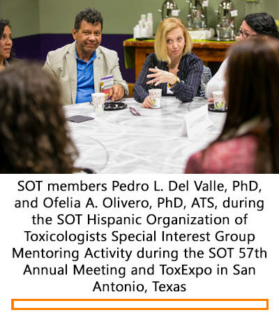 SOT members Pedro L. Del Valle, PhD,  and Ofelia A. Olivero, PhD, ATS, during  the SOT Hispanic Organization of Toxicologists Special Interest Group Mentoring Activity during the SOT 57th Annual Meeting and ToxExpo in San Antonio, Texas