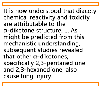 Quote from the article about the structure of diacetyl and how it affects the toxicity.