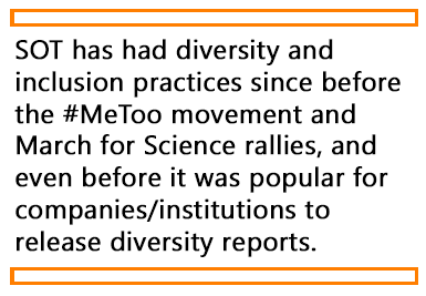 A quote from the article about how SOT has been making efforts for diversity and inclusiveness for many years.