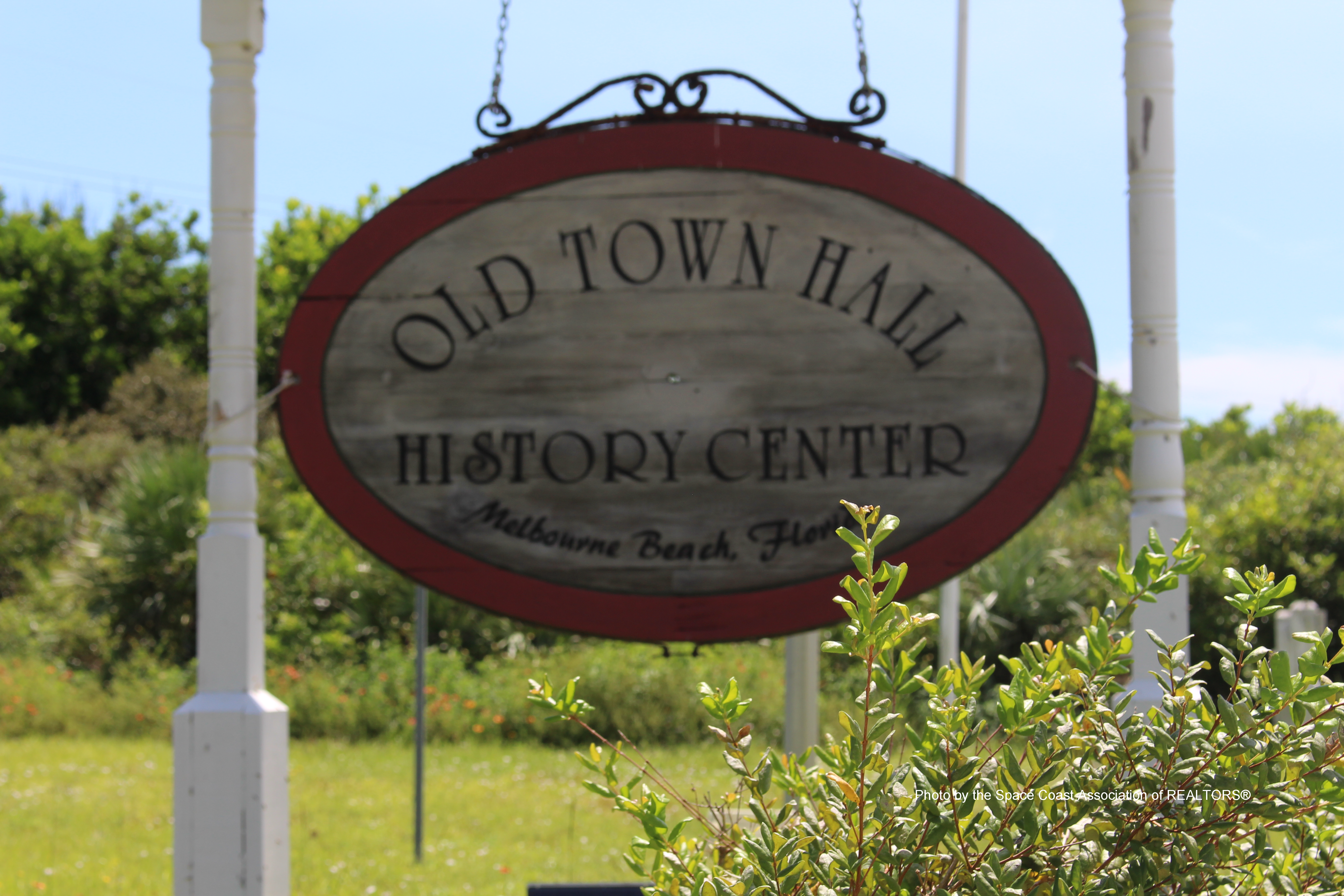 Old Town Hall History Center sign, Melbourne Beach, Florida