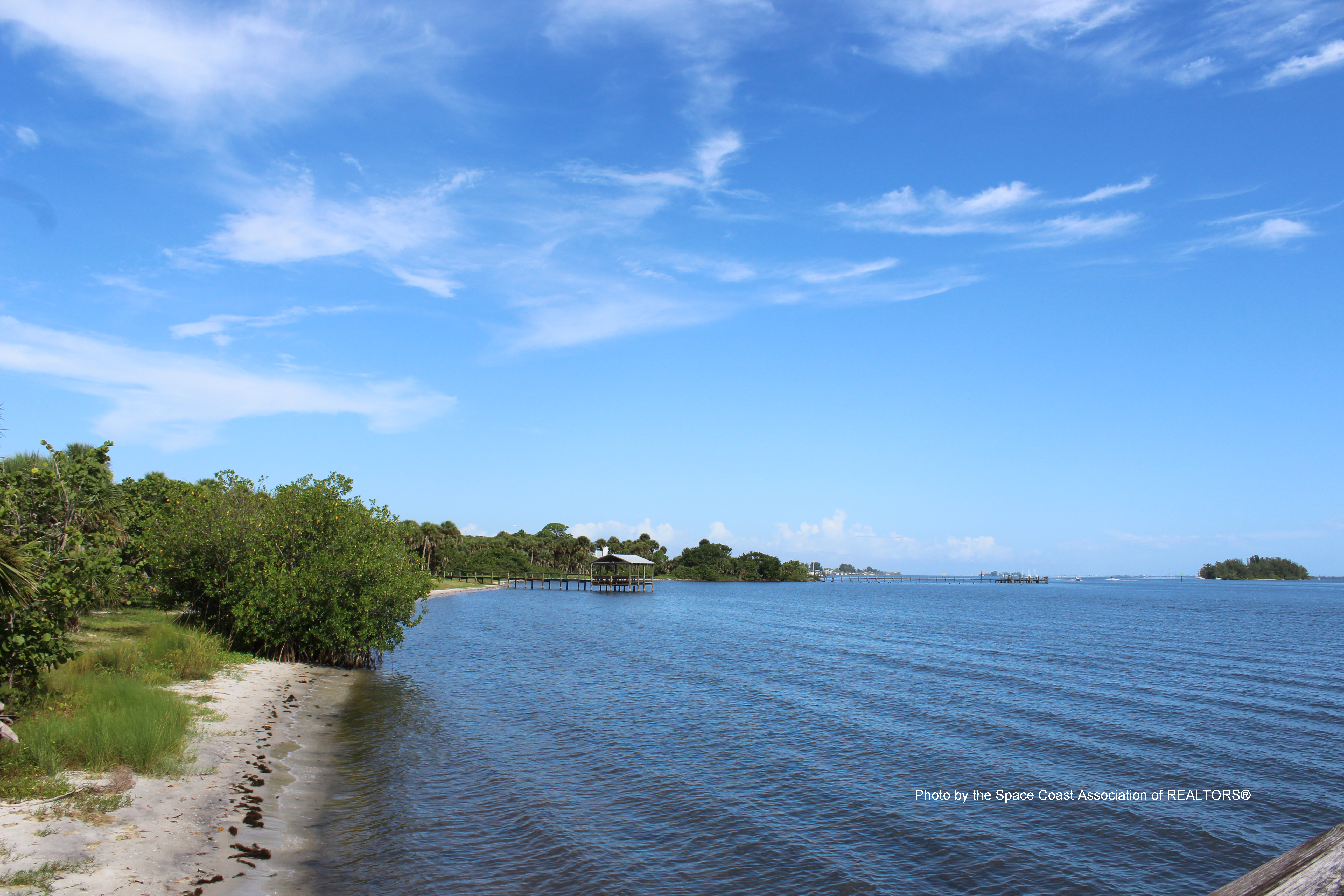View of Fisherman's Landing from the shore in Grant-Valkaria, Florida