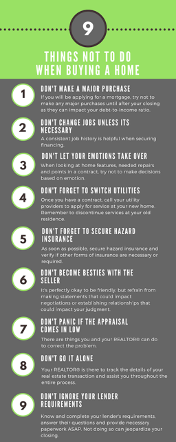 9 things not to do when buying a home