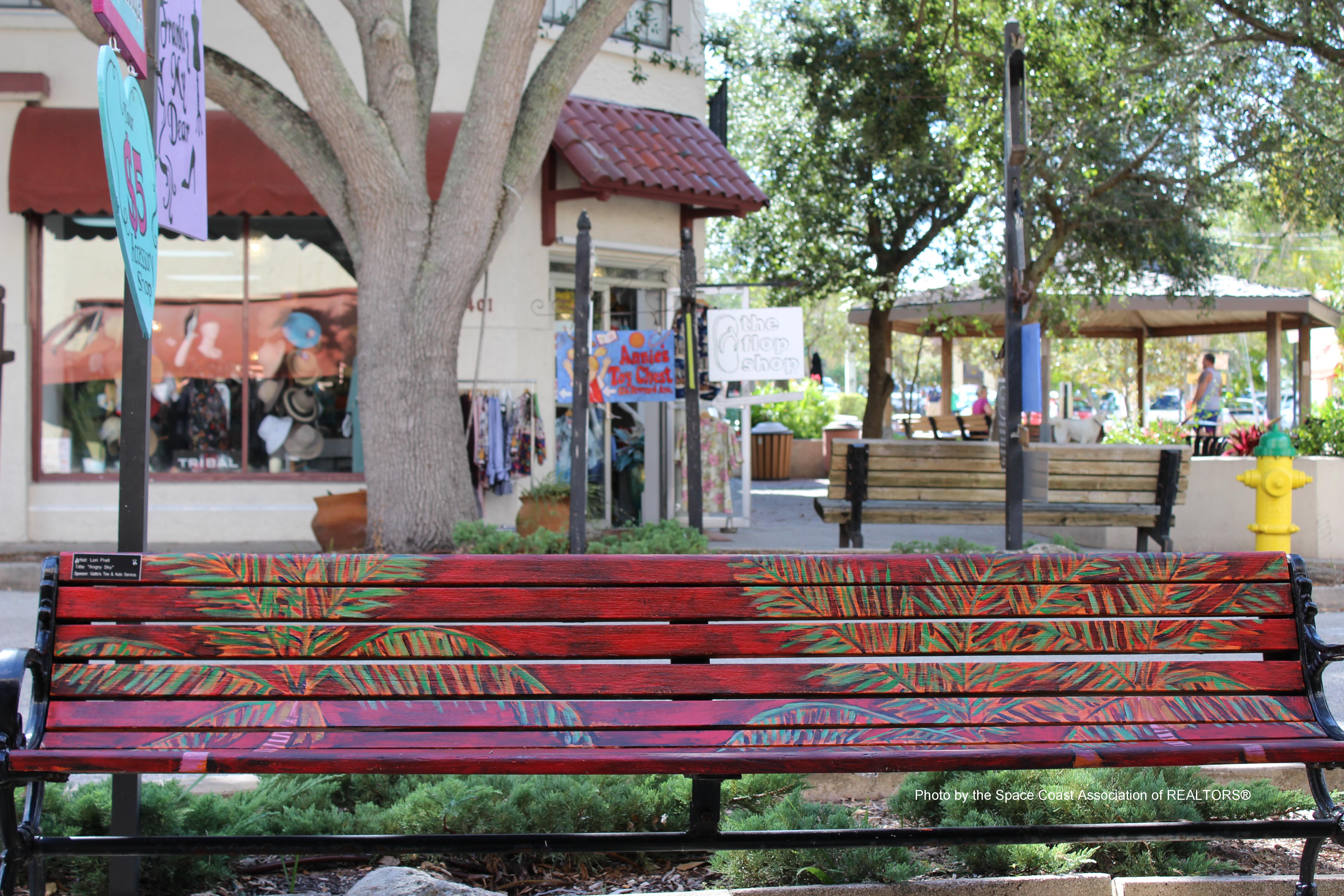 Park bench Cocoa Village, Florida
