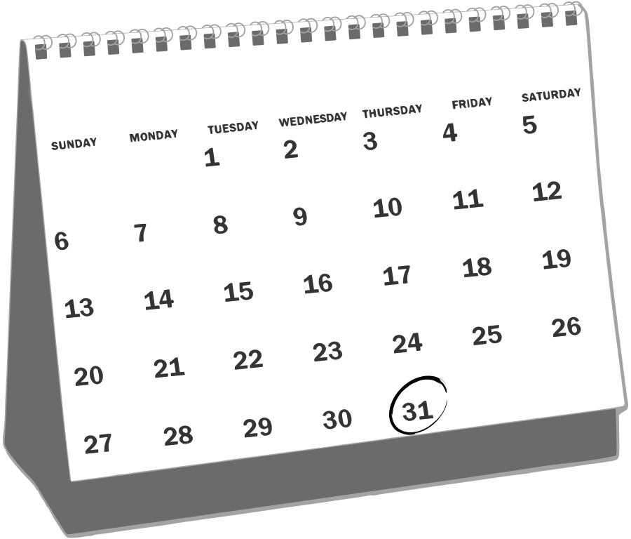 White education calendar graphic with black font